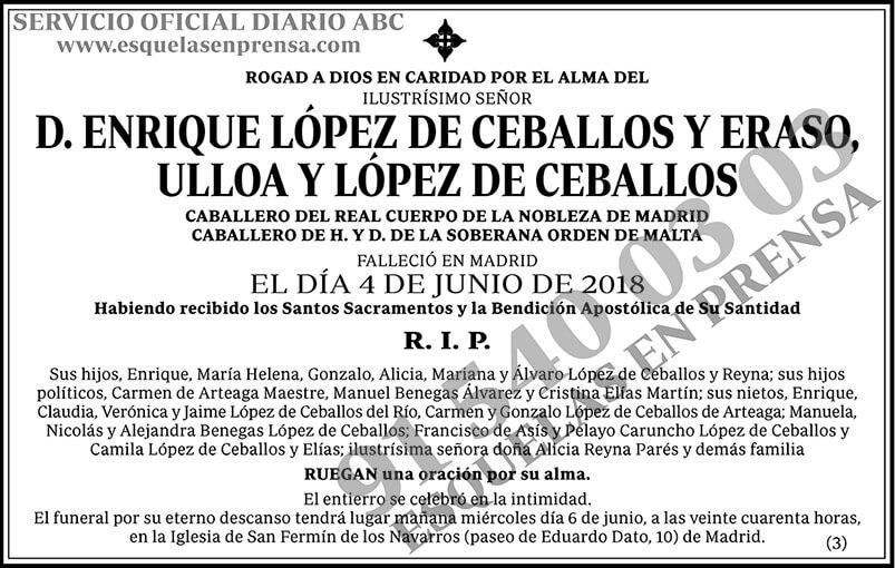 Enrique López de Ceballos y Eraso, Ulloa y López de Cerballos